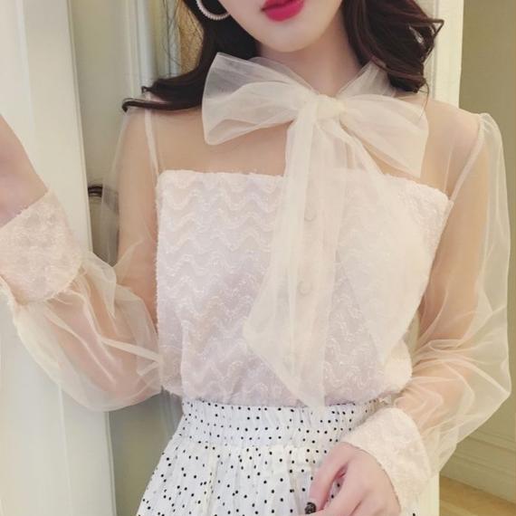 tulle ribbon blouse(No.300583)
