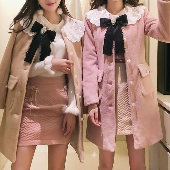 一部即納♡feather ribbon engel coat(No.300559)