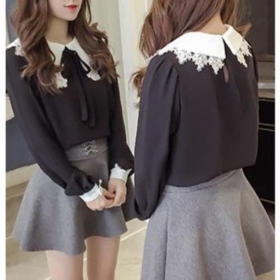 Big collor ribbon blouse(No.300351)
