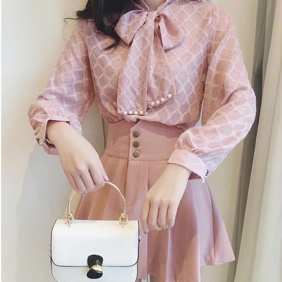 pearl ribbon blouse & skirt set(No.300585)