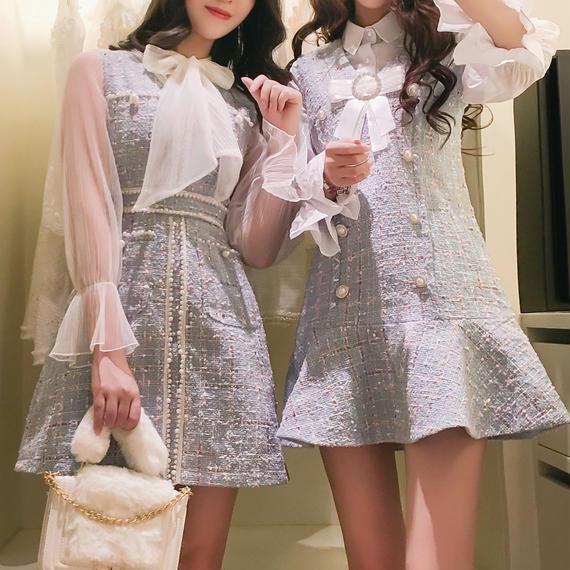 blouse & beads line tweed OP(No.300526)