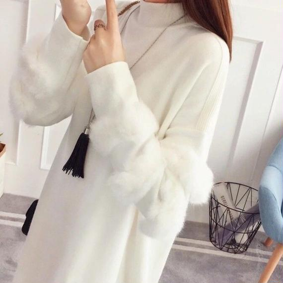 Fur sleeve knit one-piece (No.300284)