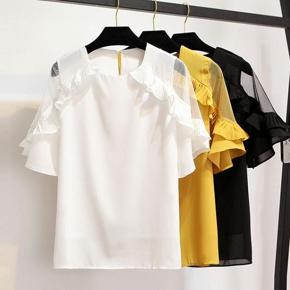 See-through Frill Sleeve Tops (No.300226)