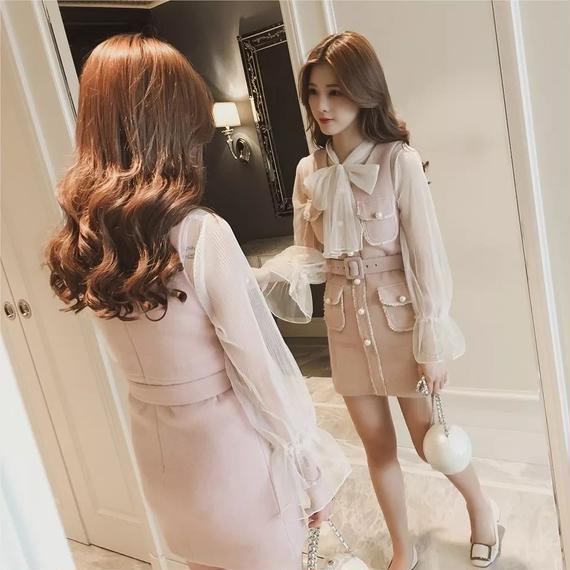 Ribbon blouse & tweed OP set (No.300321)