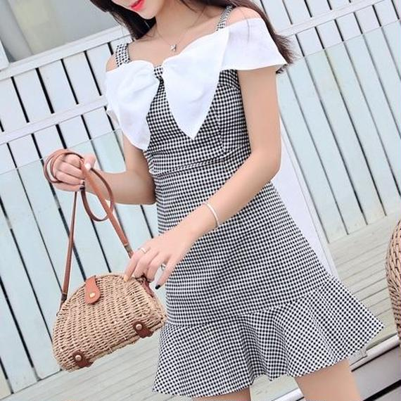 offshoulder ribbon check OP(No.300398)