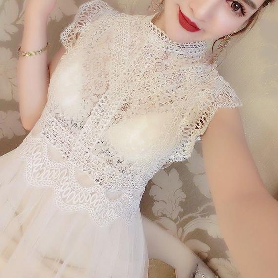 即納♡crochet lace long OP(No.300384)