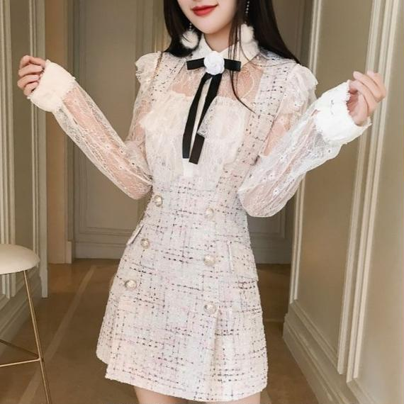 ribbon blouse & tweed skirt (No.300528)