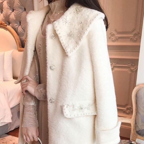 eco-fur bijjou long coat(No.300545)