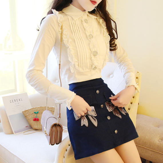 Frill blouse & ribbon skirt set-up (No.300348)