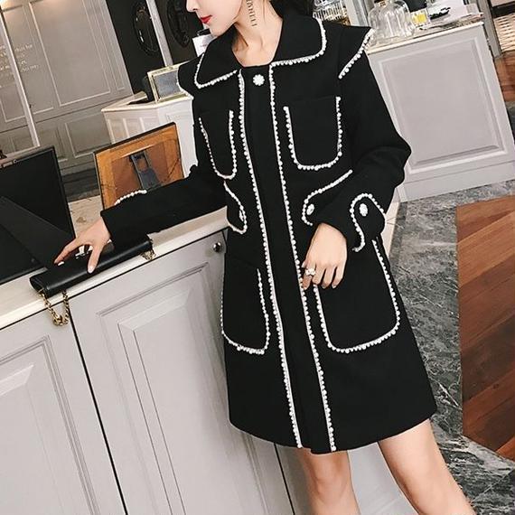 pearl black coat dress(No.300518)
