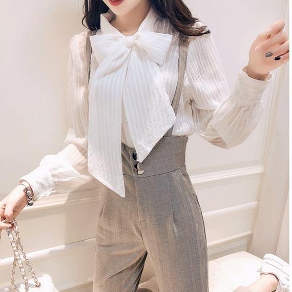big ribbon blouse & suspender pants(No.300588)
