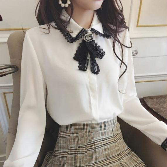 retro ribbon blouse(No.300555)