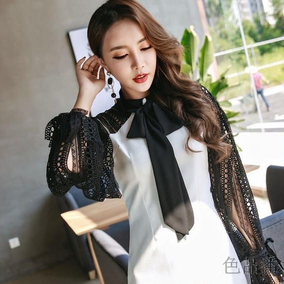 Lace Sleeve Ribbon Onepiece (No.300254)