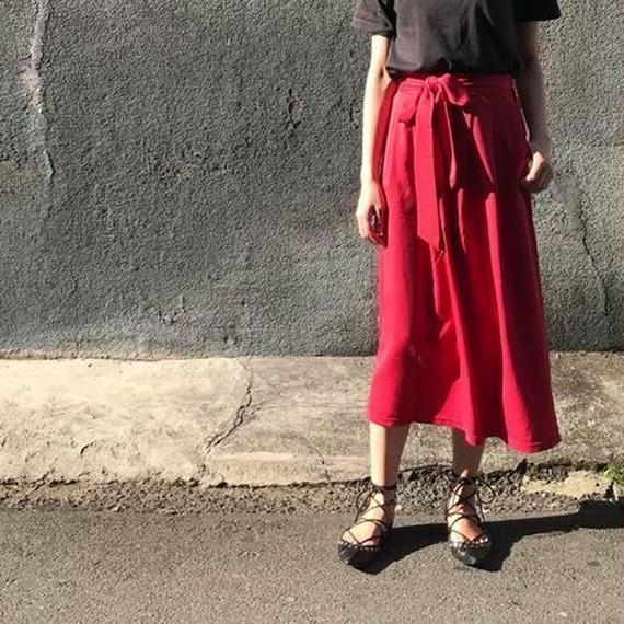 スカート レディース フレア ウエストベルト付き 2way ミモレ丈 ヒザ丈 ロング(6color)