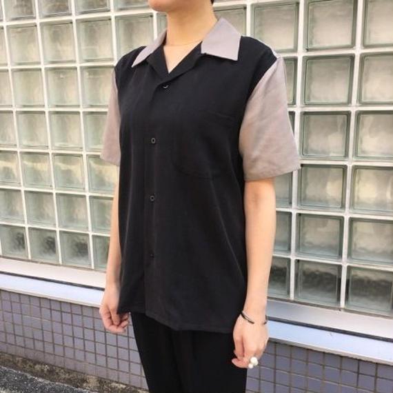 【galvanize】Lyocell Bowling Shirt ボーリングシャツ(ブラック×グレー)
