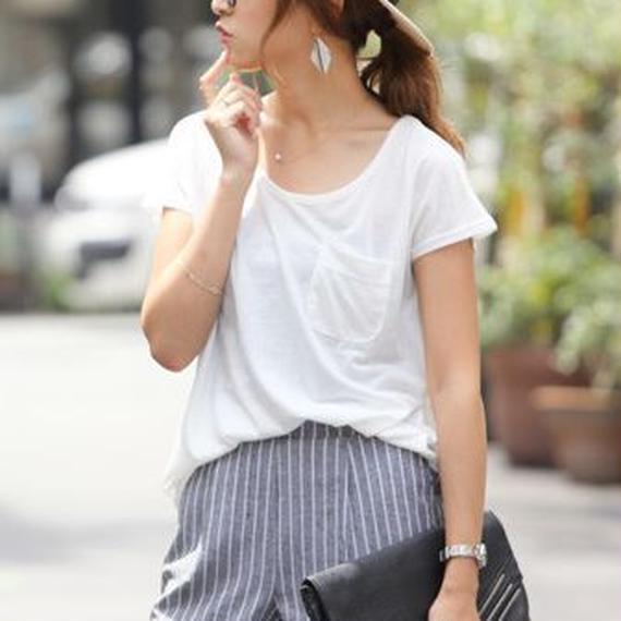 ゆるてろ素材×ミニポケット!!美ライン♪シンプル半袖Tシャツ/トップス(8color)