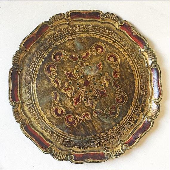 Vintage Italian Florentine Wood Tray