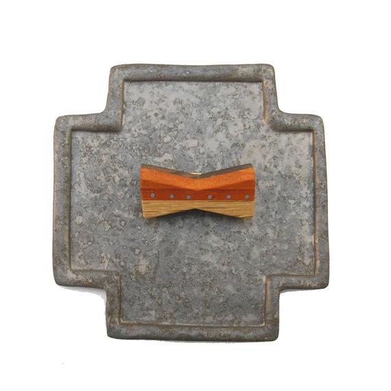 ブローチ(リボン銀ドット)