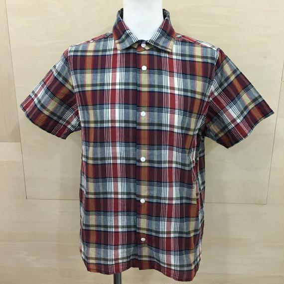 YAECA / 68120 / コンフォートシャツ リラックス S/S (MADRAS BURGUNDY)