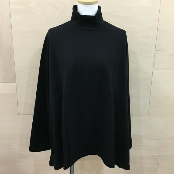 Graphpaper  / GL183 70033 / Lrregular Hem Hight Neck Sweat Shirt (BLACK)