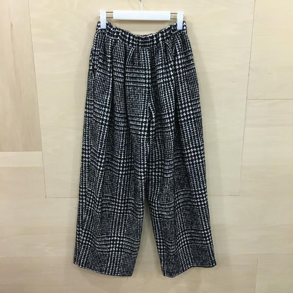 Graphpaper  / GL183 40009 / Tweed Check Wide Easy Pants (HOUNDSTOOTH)