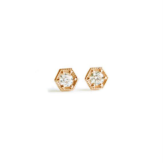 K10/【KIKKO DIAMOND / 亀甲ダイヤモンド】ダイヤピアス(M)0.26ct (P10072Y-M)