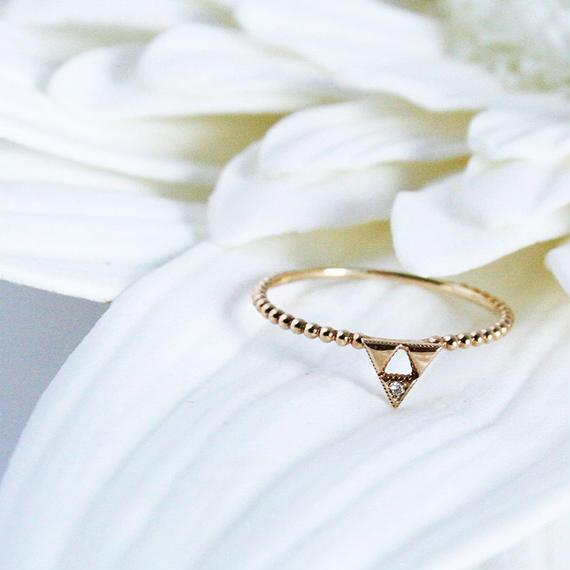 K10YGダイヤリング【SANKAKU MON / 三角文】K10YG, Diamond Ring (R10085Y)