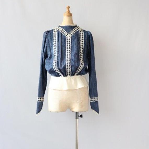 cavane キャヴァネ / フレンチストライプブラウスFrench stripe Victorian-blouse  / ca-16009