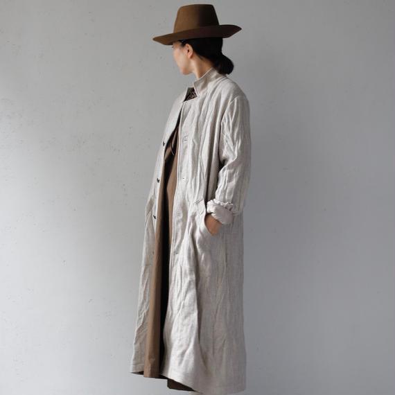 cavane キャヴァネ / ShetlandWool & Linen-coat unisexロングコート / ca-17069