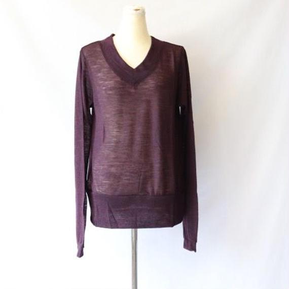 cavane キャヴァネ / ウール 梨地 VネックニットWool V-neck knit / ca-15027