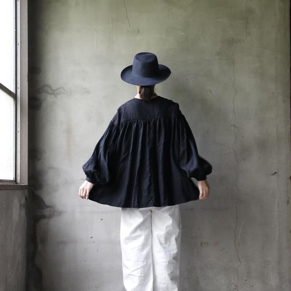 cavane キャヴァネ /【受注】Back gather linen blouseバックギャザーブラウス / ca-19003