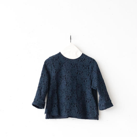 cavane キャヴァネ / Lace Blouse back button レースブラウス/ ca-18015d