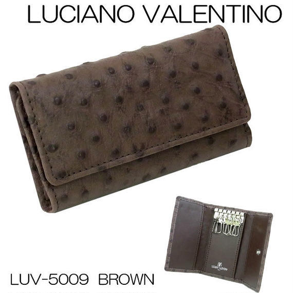 ルチアーノバレンチノ 牛革 オーストリッチ型押し 6連キーケース LUV5009