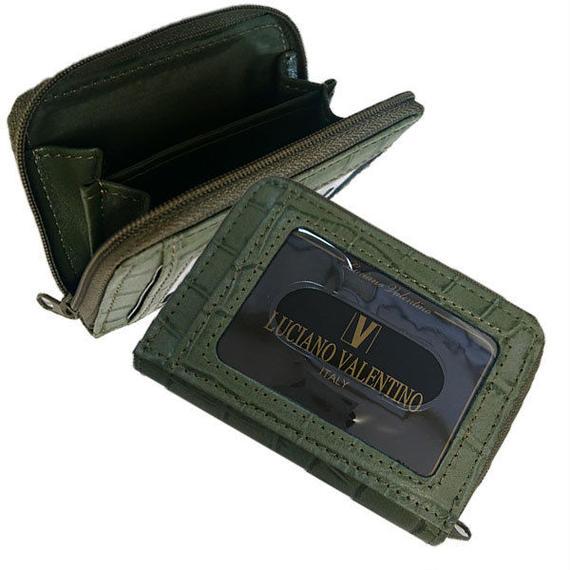 ルチアーノバレンチノ 牛革クロコ型押し 小銭入付パスケース コインケース 定期入れ LUV4008