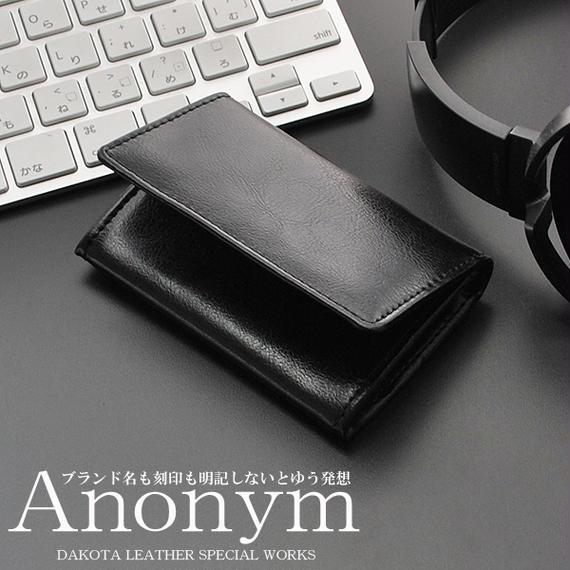 ブランド名を刻印しないという発想から生まれたブランド 紳士用名刺入れ ダコタレザーカードケース 本革牛革 メンズレザーパスケース ブラック 送料無料 Anonym