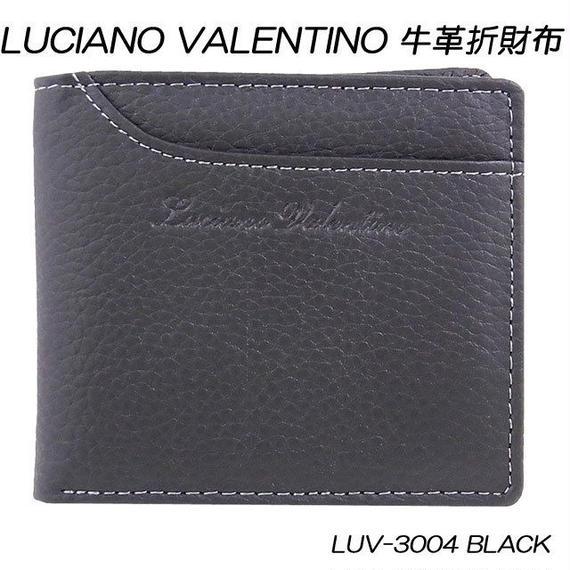 ルチアーノバレンチノ 牛革 レザー シボ メンズ二つ折り財布 短財布LUV3004