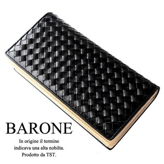 【BARONE バローネ】イントレチャート メンズレザーロングウォレット 本革牛革 紳士用長財布 bn1011