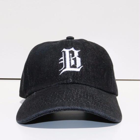 BLACK LABEL  HI   ストラップバックキャップ ブラックデニム/ホワイト