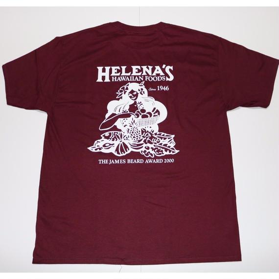 HELENA'S  HAWAIIAN FOODS  official TSHIRTS   バーガンディー/ホワイト