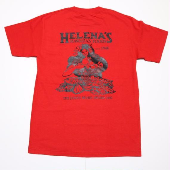 HELENA'S  HAWAIIAN FOODS  official TSHIRTS   レッド/ ブラック