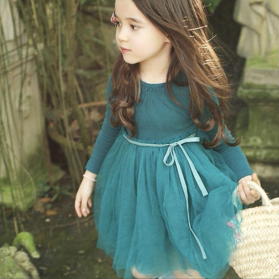 spring tulle onepiece 【blue】