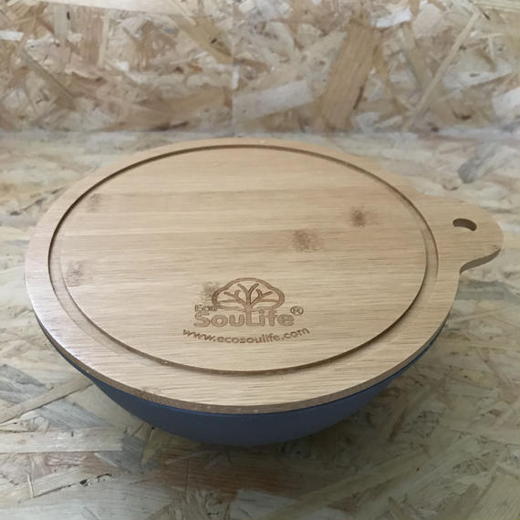 EcoSouLife / Small Salad Bowl with Bamboo Cutting Board Lid  #Charcoal