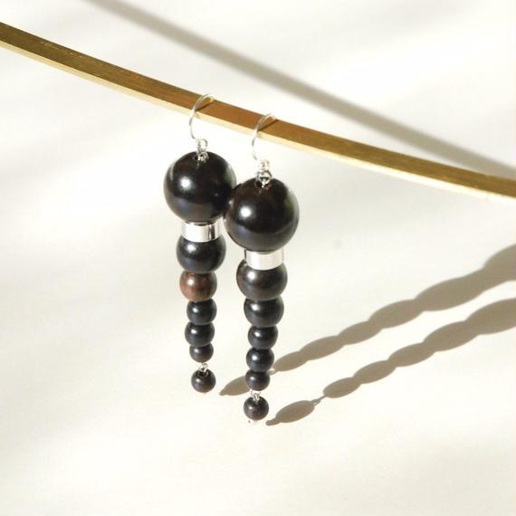 OLYMPIA earrings - EBONY WOOD