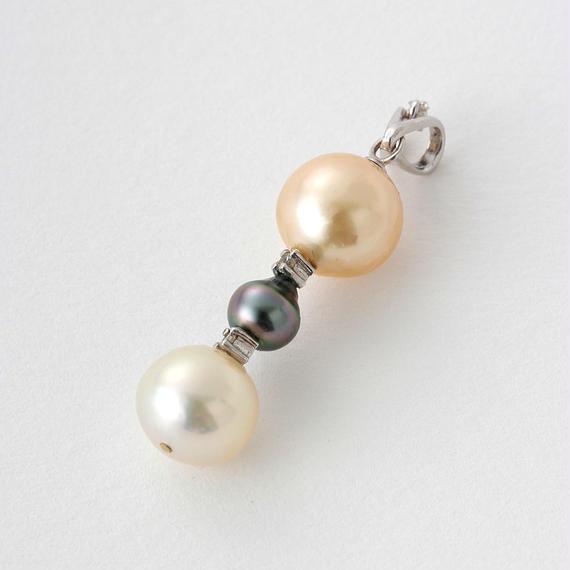 【SALE】パール3種、ダイヤ入りペンダントトップ