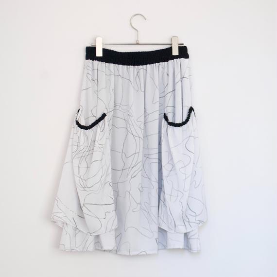3tsui/ フェイクポッケのギャザースカート