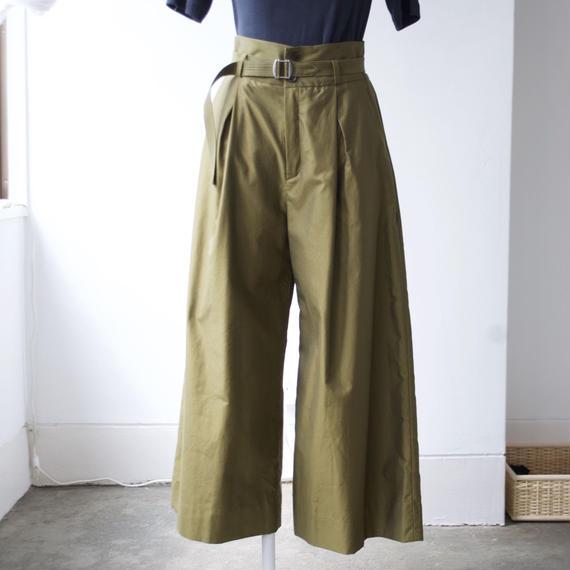 hatsutoki/cotton-gabardine wide pants(khaki)