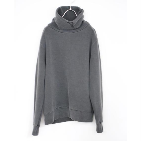 manon/pigment dyed  high-neck sweat(black)