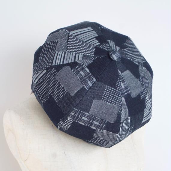 mitake/big beret(indigo patchwork)