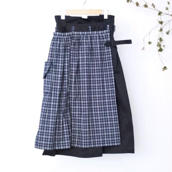 ASEEDONCLOUD/apron work skirt(vintage pique × country indigo check/navy)