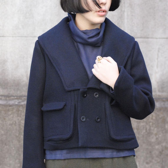 ASEEDONCLOUD/ladies blazer double face soft melton(navy)